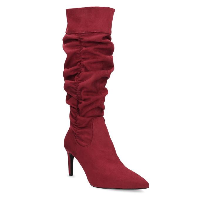 Dámské červené kozačky s řasením bata, červená, 799-5619 - 13