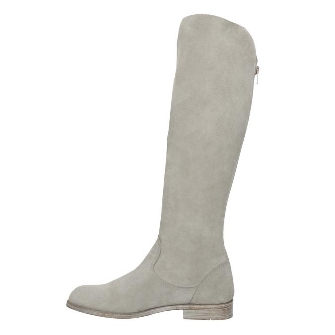 Kozačky s výšivkou a kamínky bata, šedá, 596-2687 - 17