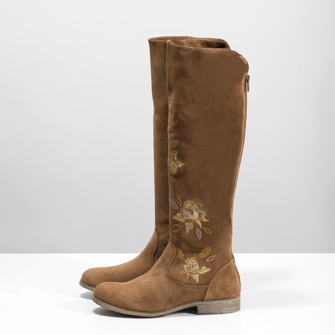 Kožené kozačky s výšivkou bata, hnědá, 596-4687 - 16