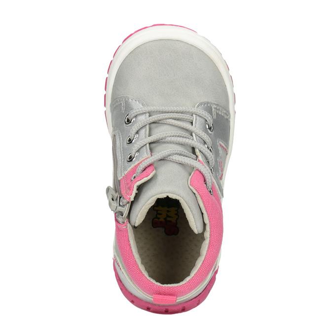 Kotníčková dětská obuv s výšivkou bubblegummers, šedá, 121-2619 - 15