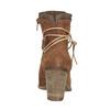 Kožené kotníčkové kozačky s výšivkou bata, hnědá, 696-4655 - 15