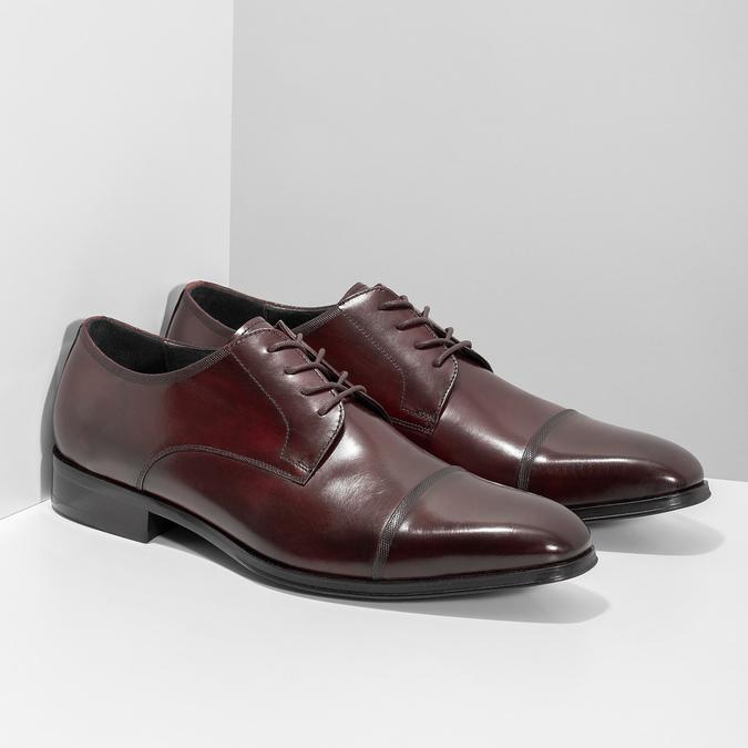 Vínové kožené polobotky bata, červená, 826-5851 - 26