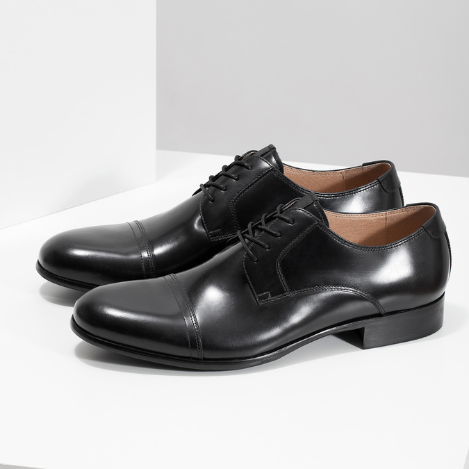 Černé kožené Derby polobotky bata, černá, 824-6863 - 16