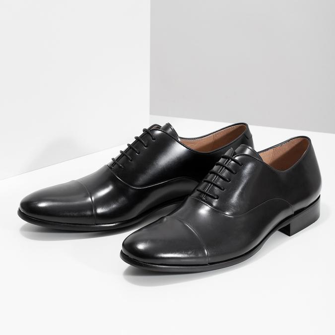 Černé kožené polobotky v Oxford střihu bata, černá, 824-6626 - 16
