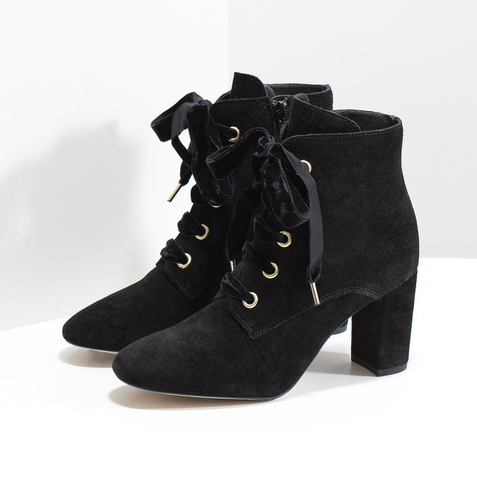 Kožené kotníčkové boty s mašlí bata, černá, 793-6613 - 16