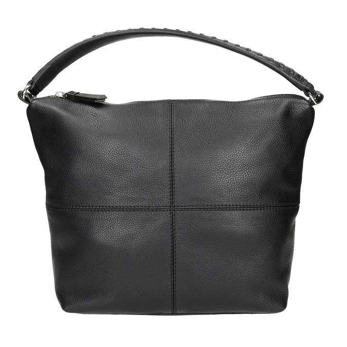 Kožená Hobo kabelka s prošitím bata, černá, 964-6290 - 26