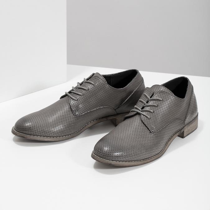 Dámské polobotky s perforací bata, šedá, 521-2609 - 16
