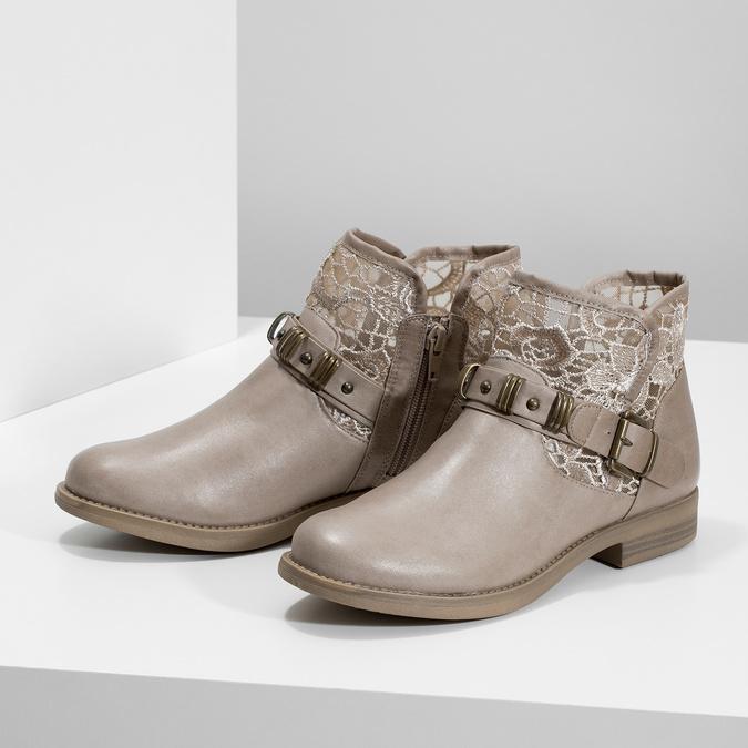 Dámské kozačky s krajkou bata, šedá, 591-2628 - 16