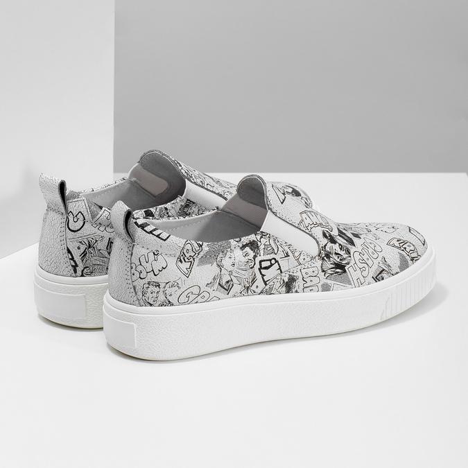 Dámská kožená Slip-on obuv bata, bílá, 536-1608 - 16