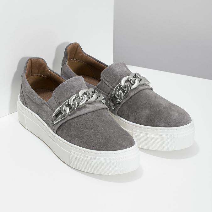 Dámské Slip-on s kovovou přezkou bata, šedá, 513-2600 - 26