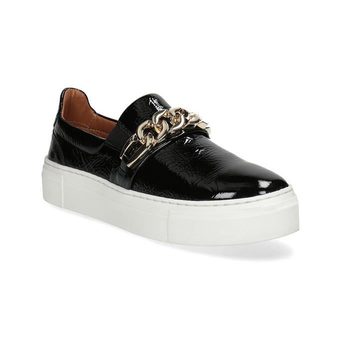 Kožená Slip-on obuv na flatformě bata, černá, 518-6601 - 13