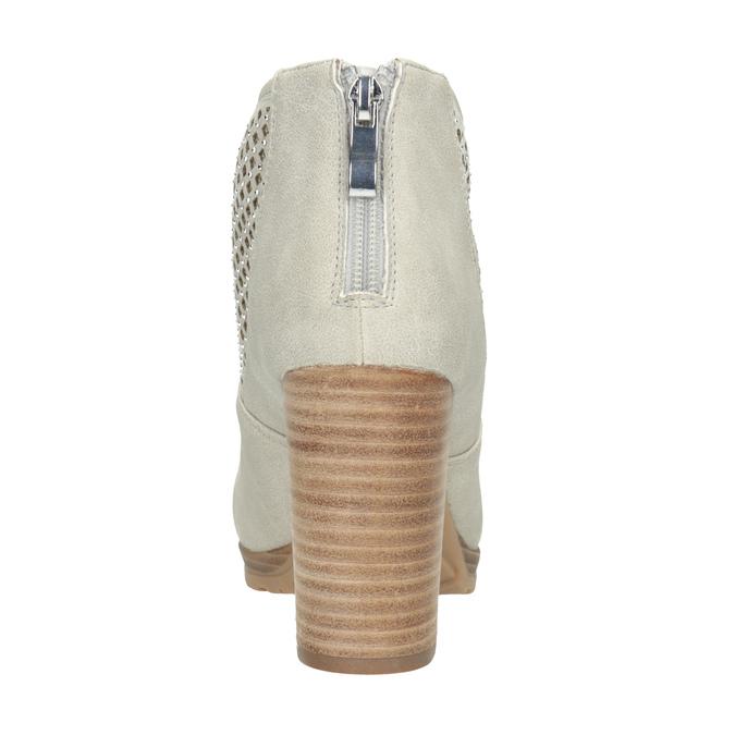 Kotníčkové kozačky s perforací bata, béžová, 791-2615 - 16