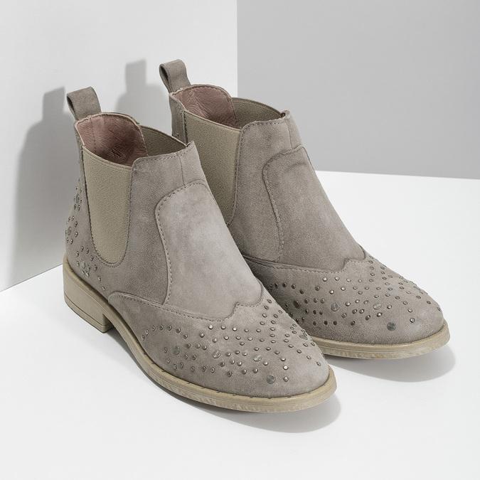 Kožené kotníčkové boty s kovovou aplikací bata, béžová, 596-2690 - 26