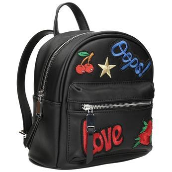 Černý batoh s nášivkami bata, černá, 961-6264 - 13