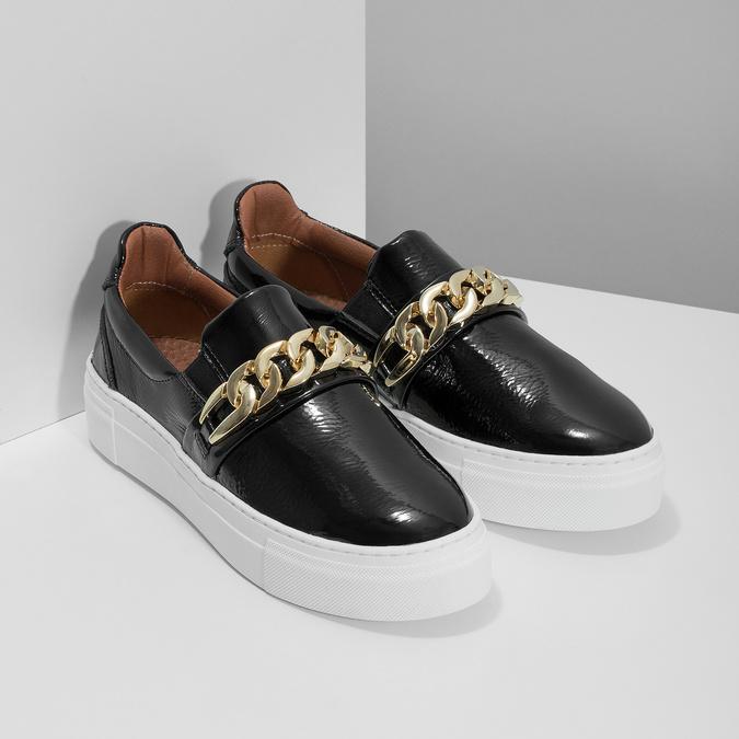 Kožená Slip-on obuv na flatformě bata, černá, 518-6601 - 26