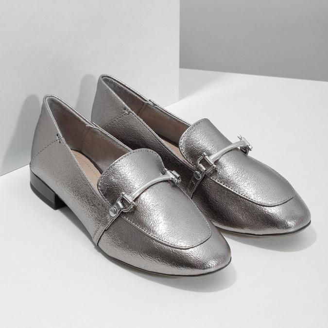 Stříbrné mokasíny s přezkou bata, stříbrná, 511-1609 - 26