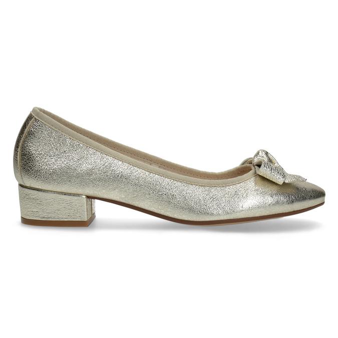 Kožené baleríny na nízkém podpatku bata, zlatá, 526-8420 - 19