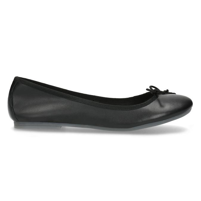 Kožené černé baleríny s mašličkou bata, černá, 524-6144 - 19