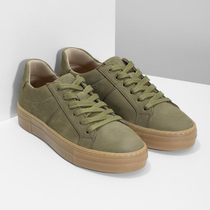 Dětské zelené kožené tenisky mini-b, khaki, 416-7601 - 26