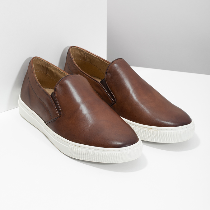 Pánská kožená Slip-on obuv bata, hnědá, 836-4601 - 26
