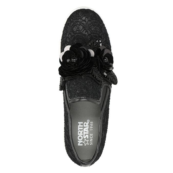 Černé dámské Slip-on s ozdobou north-star, černá, 539-6600 - 17