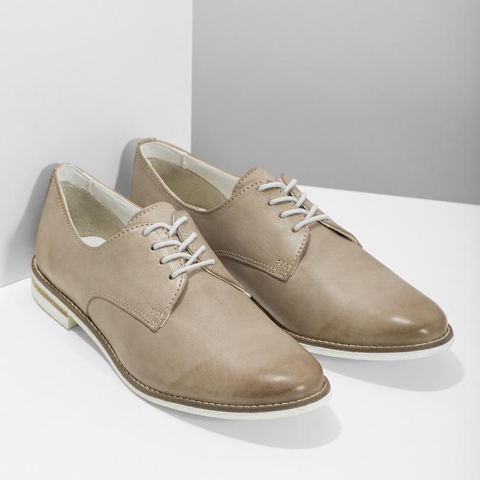 Kožené dámské polobotky bata, béžová, 526-8650 - 26