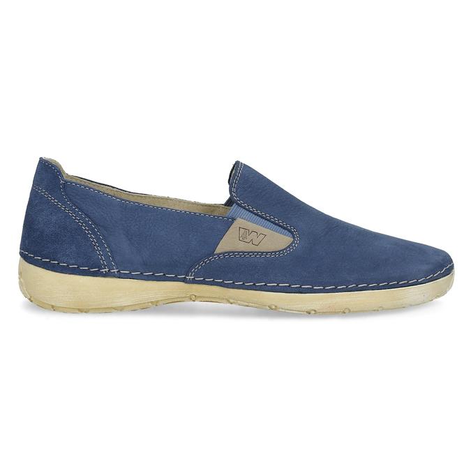 Dámské kožené Slip-on modré weinbrenner, modrá, 536-9606 - 19