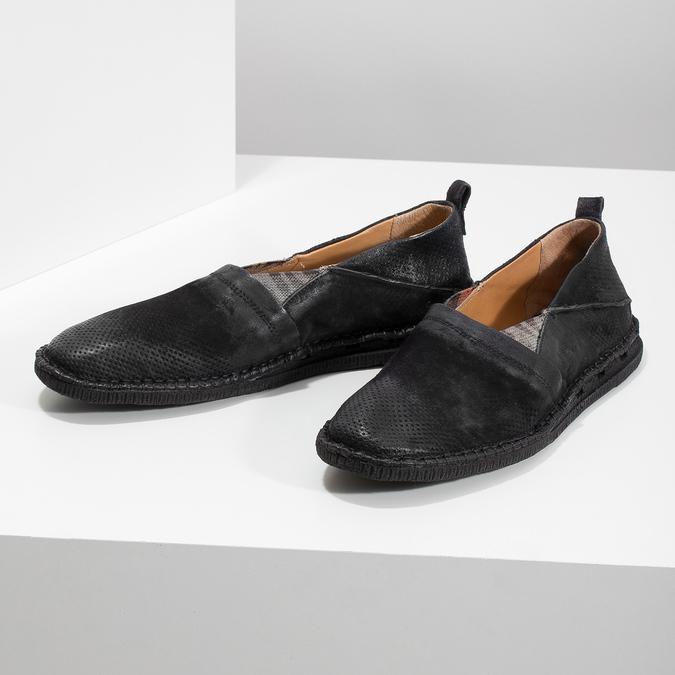 Ležérní kožené Slip-on boty a-s-98, černá, 816-6058 - 16