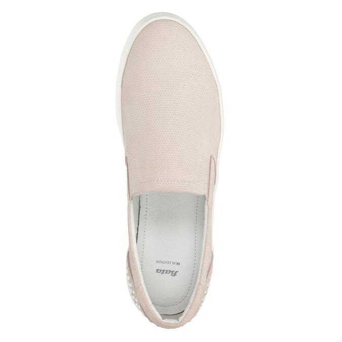 Dámská kožená Slip-on obuv bata, růžová, 533-5600 - 15