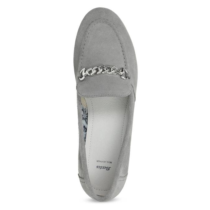 Šedé kožené mokasíny bata, šedá, 513-2615 - 17