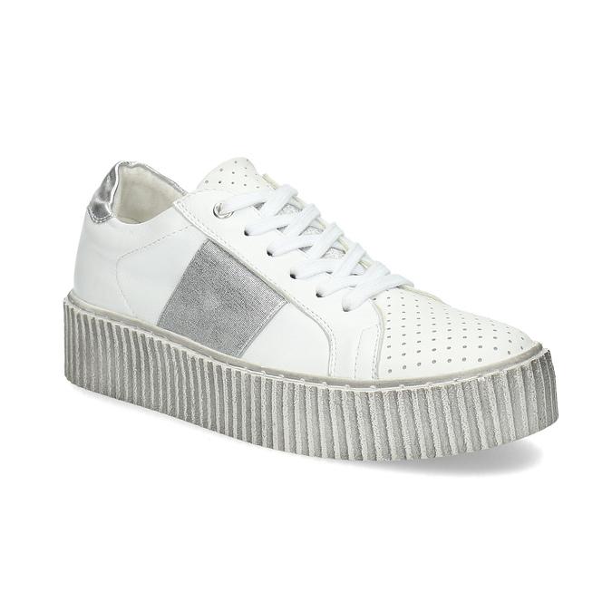 Kožené bílé tenisky s výraznou podešví bata, bílá, 546-1616 - 13