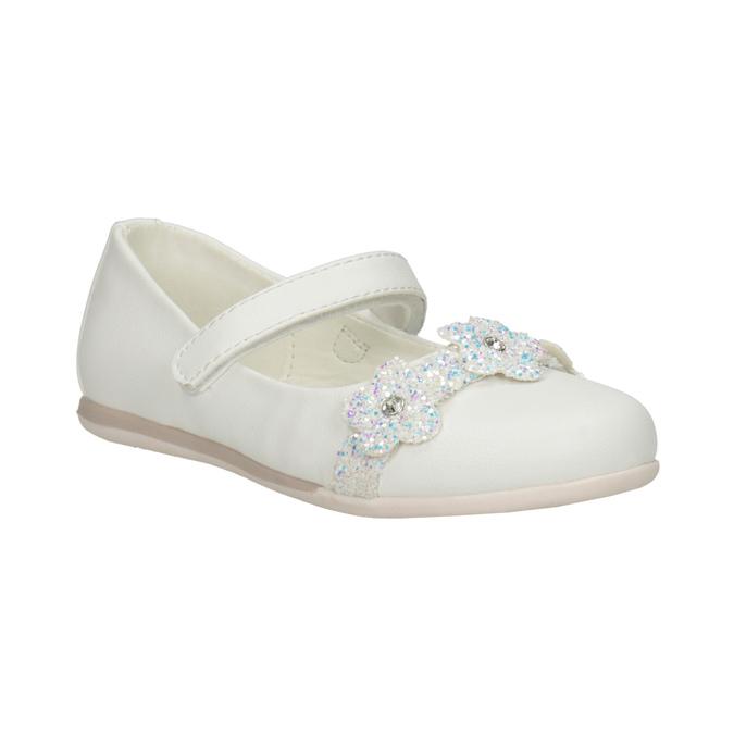 Bílé baleríny s kytičkami a třpytkami mini-b, bílá, 229-1106 - 13