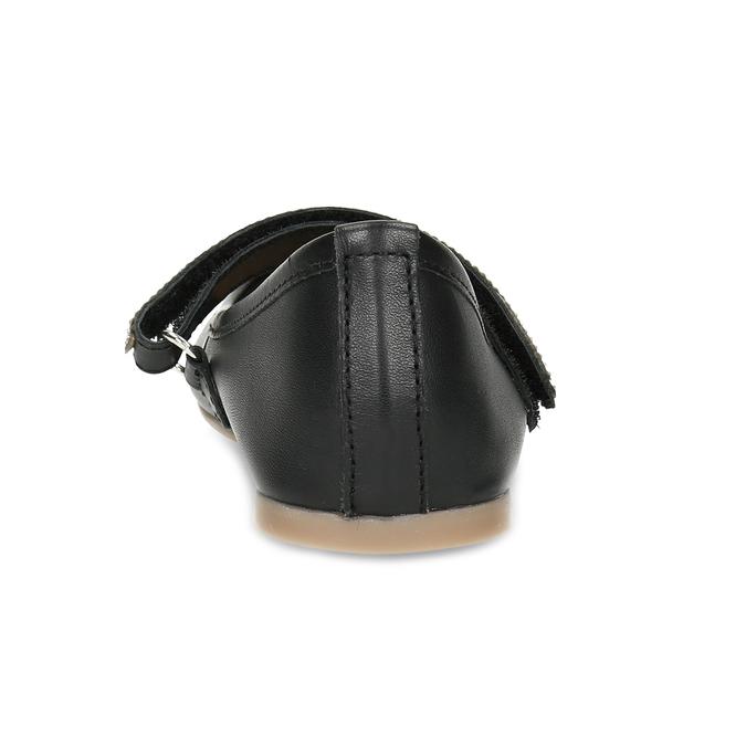 Černé dívčí kožené baleríny se štrasovým páskem mini-b, černá, 326-6601 - 15