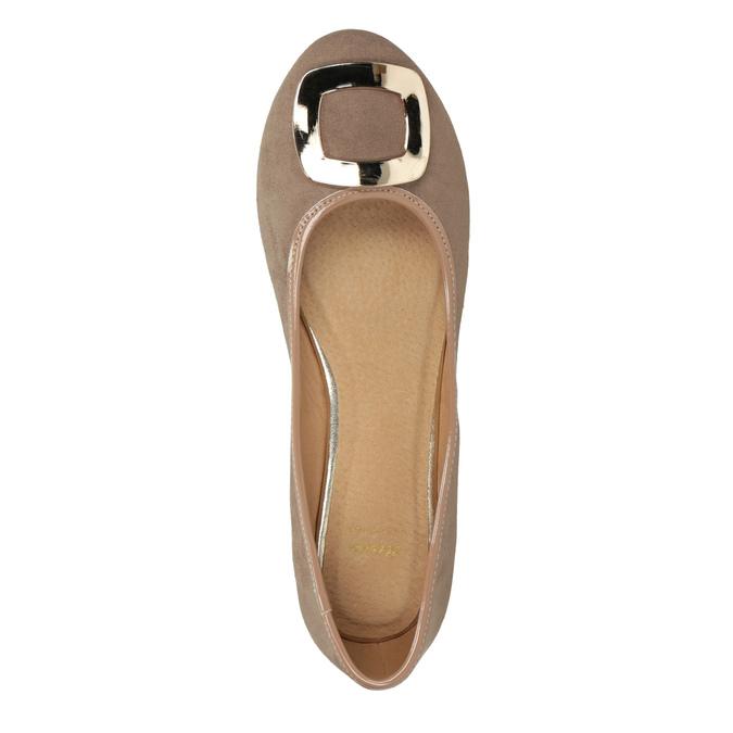 Béžové baleríny se zlatou sponou bata, 529-8638 - 15
