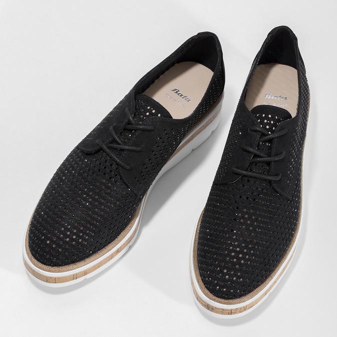 Černé polobotky s výraznou perforací bata, černá, 529-6636 - 16