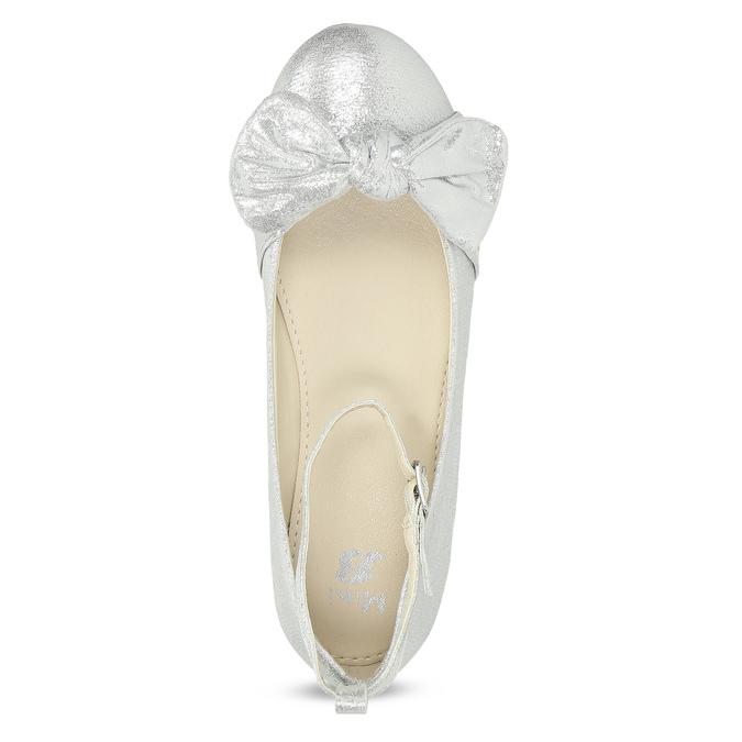 Stříbrné dívčí baleríny s mašlí mini-b, stříbrná, 329-1227 - 17