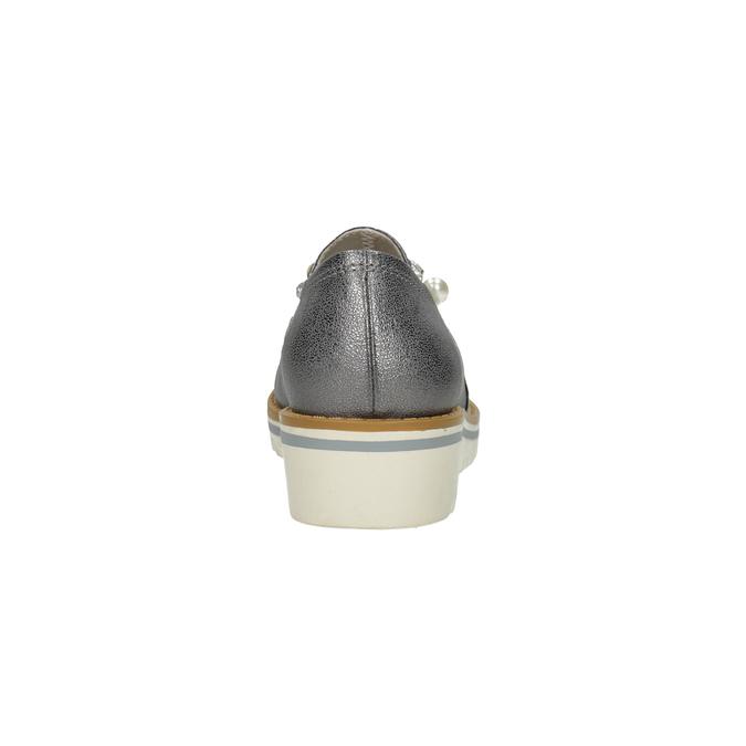 Stříbrné mokasíny s perličkami bata, stříbrná, 511-6610 - 15