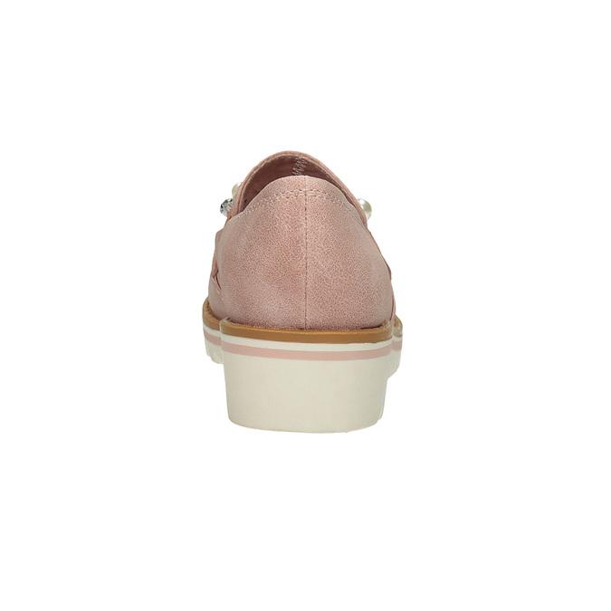 Mokasíny na platformě s perličkami bata, růžová, 511-5610 - 15