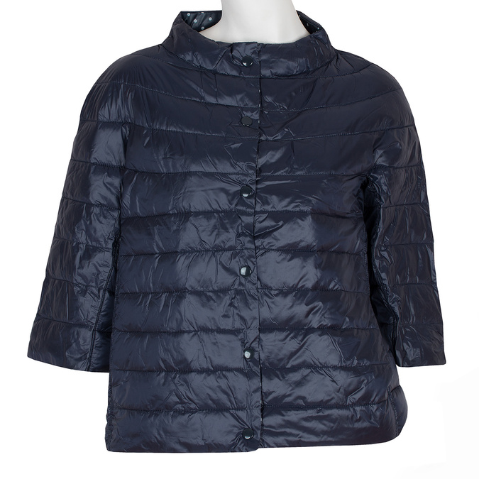 Prošívaný kabátek s tříčtvrtečním rukávem bata, modrá, 979-9147 - 13