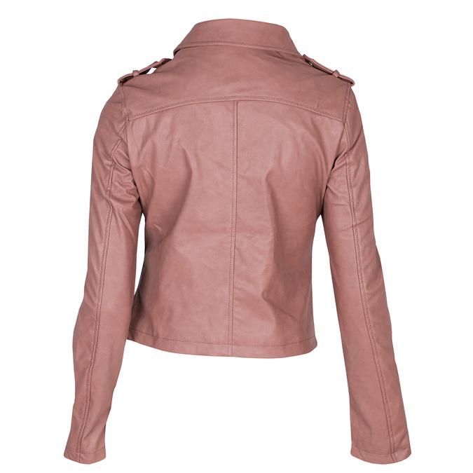 Růžová koženková bunda s límcem bata, růžová, 971-5198 - 26