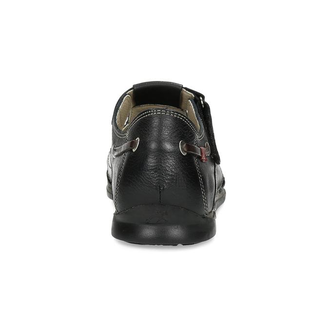 Kožené sandály s prošíváním fluchos, černá, 864-6605 - 15