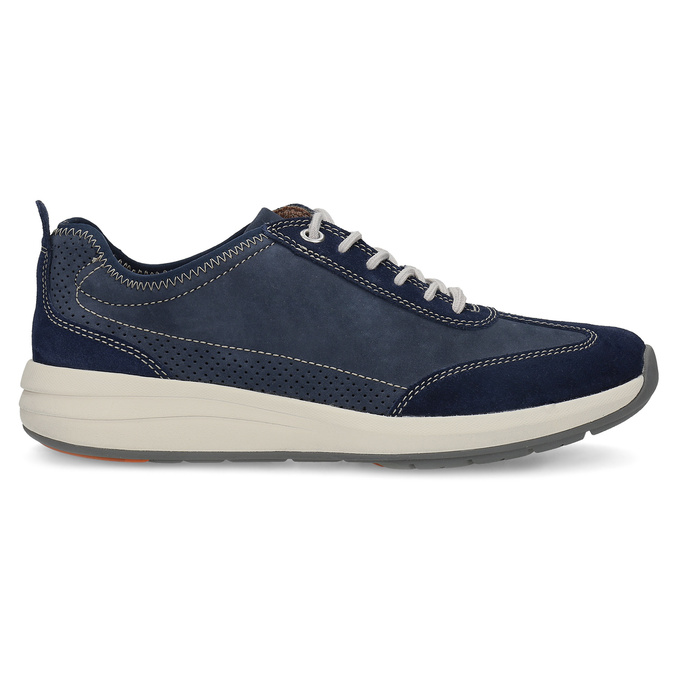 Pánské tenisky z modré broušené kůže clarks, modrá, 826-9027 - 19