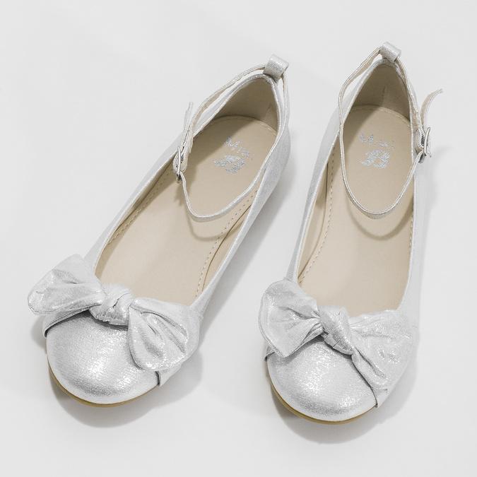Stříbrné dívčí baleríny s mašlí mini-b, stříbrná, 329-1227 - 16