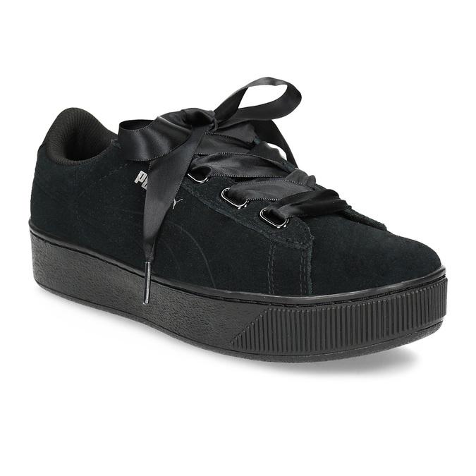 Černé kožené tenisky na flatformě s mašlí puma, černá, 503-6737 - 13