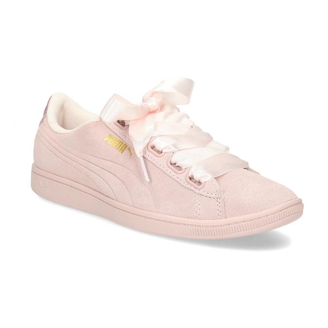 Růžové kožené tenisky se saténovou mašlí puma, růžová, 503-5738 - 13