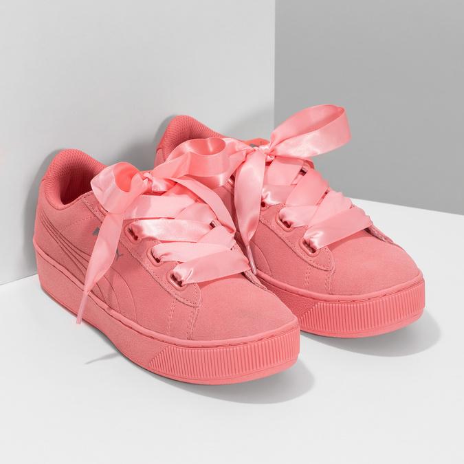 Růžové kožené tenisky na flatformě puma, růžová, 503-5737 - 26