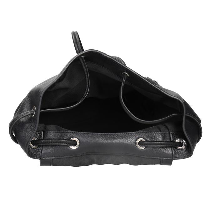 Černý kožený batoh se zipy bata, černá, 964-6259 - 15