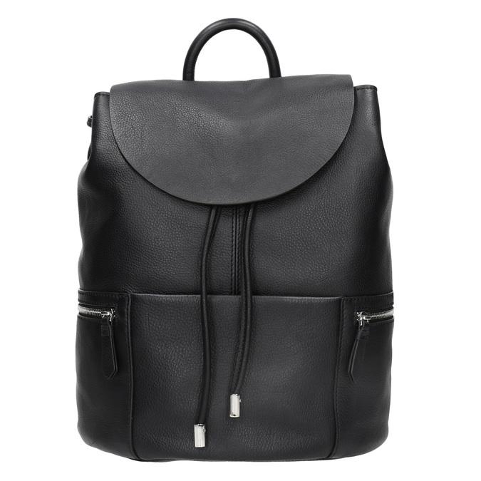 Černý kožený batoh se zipy bata, černá, 964-6259 - 26