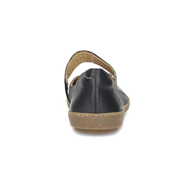 Dámské kožené baleríny s páskem na nártu el-naturalista, černá, 526-6013 - 15