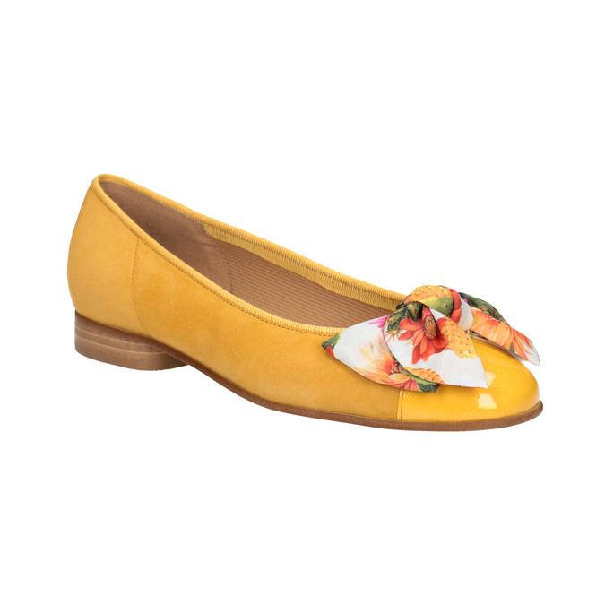 Kožené baleríny s barevnou mašlí gabor, žlutá, 523-8018 - 13